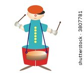 boy,cap,child,circus,clown,decorative,drum,drum-stick,drummer,fantasy,funny,gay,gloves,green,guy