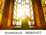 religious christian woman... | Shutterstock . vector #380805427