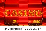 the word casino is lit up in... | Shutterstock . vector #380816767