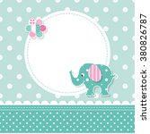 green and pink elephant baby... | Shutterstock .eps vector #380826787