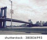 manhattan bridge and the speed... | Shutterstock . vector #380836993