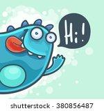 cartoon cheerful monster waving ... | Shutterstock .eps vector #380856487