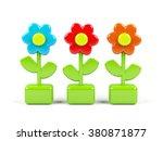 3d flowers isolated on white | Shutterstock . vector #380871877