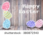 easter eggs colorful watercolor ... | Shutterstock . vector #380872543