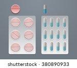 vector set of pills and blister ... | Shutterstock .eps vector #380890933