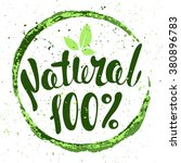 logo 100  natural with leaves ... | Shutterstock .eps vector #380896783