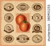 vintage tomato stamps set | Shutterstock . vector #380901253