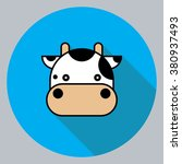 cow head with long shadow. | Shutterstock .eps vector #380937493