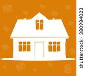 white house on the orange... | Shutterstock .eps vector #380984023