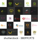set of linear abstract logos.... | Shutterstock .eps vector #380991973