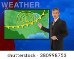 Small photo of A tv television news weather meteorologist anchorman is reporting with a colorful background and weather graphics on the monitor screen.