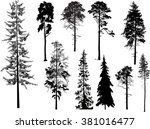 illustration with trees set... | Shutterstock .eps vector #381016477