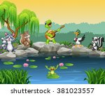 cartoon happy animals singing... | Shutterstock . vector #381023557