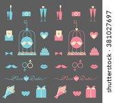 wedding icon set | Shutterstock .eps vector #381027697