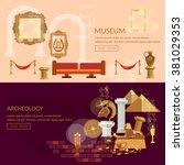 museum horizontal banner... | Shutterstock .eps vector #381029353