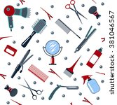 barber and hairdresser tools... | Shutterstock .eps vector #381046567