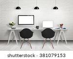 computers on the desk in the... | Shutterstock . vector #381079153