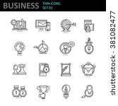 thin line icons set. business... | Shutterstock .eps vector #381082477