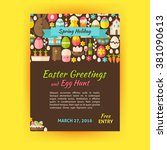 happy easter holiday template... | Shutterstock .eps vector #381090613