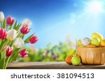 easter eggs in the basket on... | Shutterstock . vector #381094513