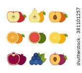 fruits icon set. flat style ... | Shutterstock .eps vector #381101257