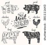vintage restaurant meat menu... | Shutterstock .eps vector #381111643