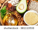 foods rich in vitamin e such as ... | Shutterstock . vector #381113533