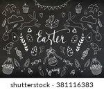 easter hand drawn lettering... | Shutterstock .eps vector #381116383