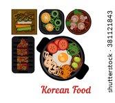 food illustration korean food... | Shutterstock .eps vector #381121843