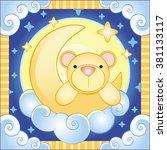 bear on the moon. vector... | Shutterstock .eps vector #381133117