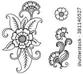 henna tattoo flower template... | Shutterstock .eps vector #381140527