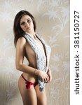erotic woman in glamour shoot... | Shutterstock . vector #381150727