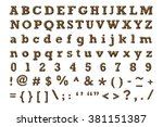 alphabet set with leopard... | Shutterstock . vector #381151387
