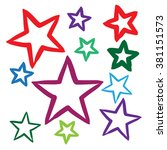 hand drawn stars set vector... | Shutterstock .eps vector #381151573