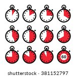 time  clock  stopwatch red...   Shutterstock .eps vector #381152797