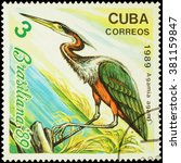"Small photo of MOSCOW, RUSSIA - FEBRUARY 20, 2016: A stamp printed in Cuba shows agami heron (Agamia agami), series ""Brasiliana '89 Stamp Exhibition. Rio de Janeiro. Birds"", circa 1989"
