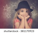 a hipster child with a black... | Shutterstock . vector #381170923