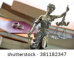 family law. justice statue with ... | Shutterstock . vector #381182347