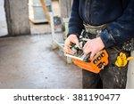 building crane operator with... | Shutterstock . vector #381190477