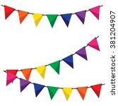 colorful bunting and garland... | Shutterstock .eps vector #381204907