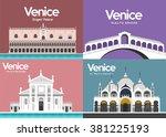 doge's palace rialto bridge... | Shutterstock .eps vector #381225193