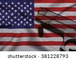 Usa Gun Laws Flag With Pistol...