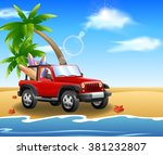summer jeep car on beach with...   Shutterstock .eps vector #381232807