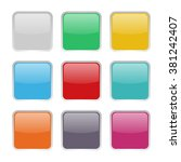 set of 9 square buttons | Shutterstock .eps vector #381242407