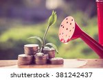 Small photo of Money and plant with hand with filter effect retro vintage style