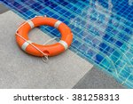 ring buoy swimming pool. | Shutterstock . vector #381258313