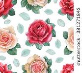 watercolor rose flowers... | Shutterstock . vector #381271843