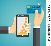 man hands holding mobile phone... | Shutterstock .eps vector #381276553