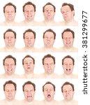 bald red head adult caucasian... | Shutterstock . vector #381299677