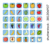 vector icons of fruits and... | Shutterstock .eps vector #381306937